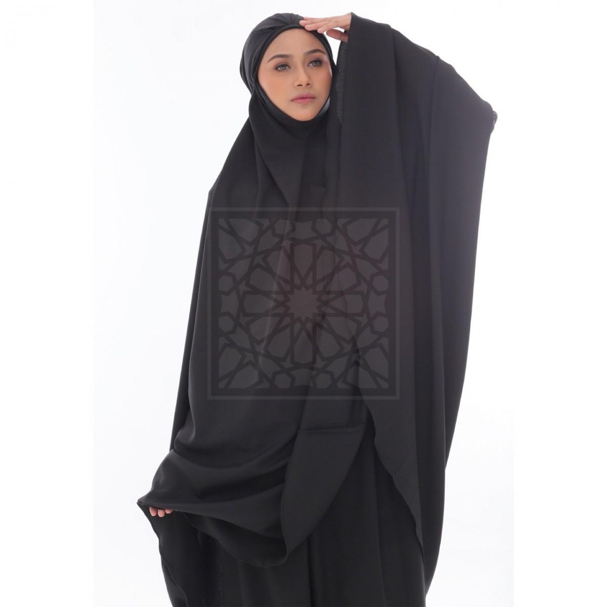 Telekung Krika Basic Solid Black Pleated Pattern
