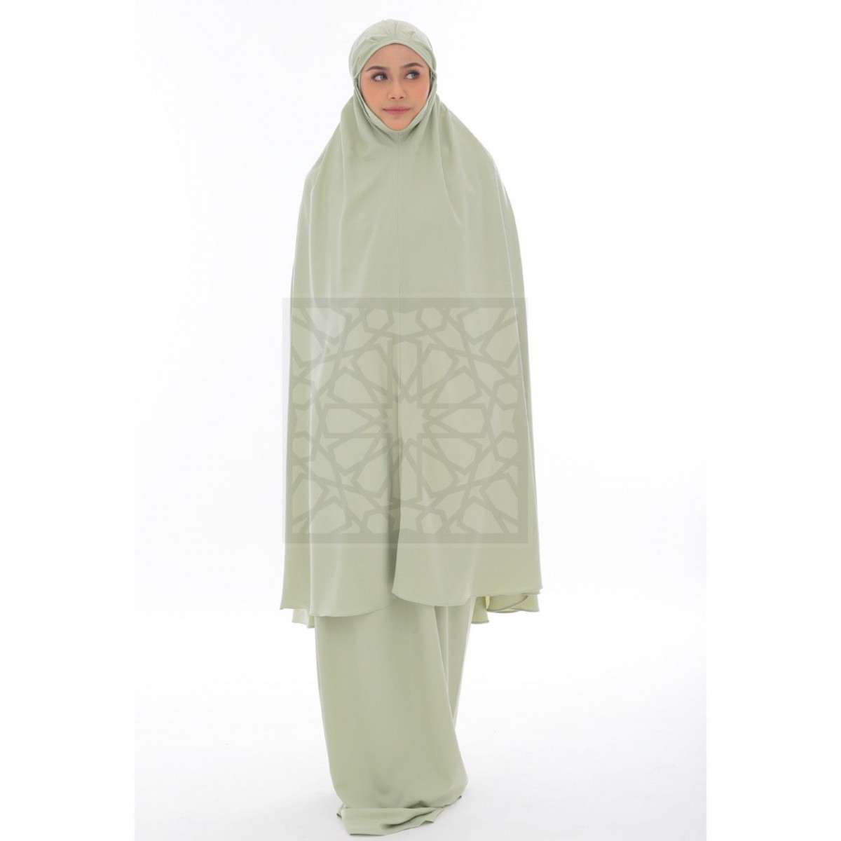 Telekung Krika Basic Mint Green Pleated Pattern