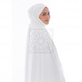 Telekung Krika Basic Off-White Pleated Pattern