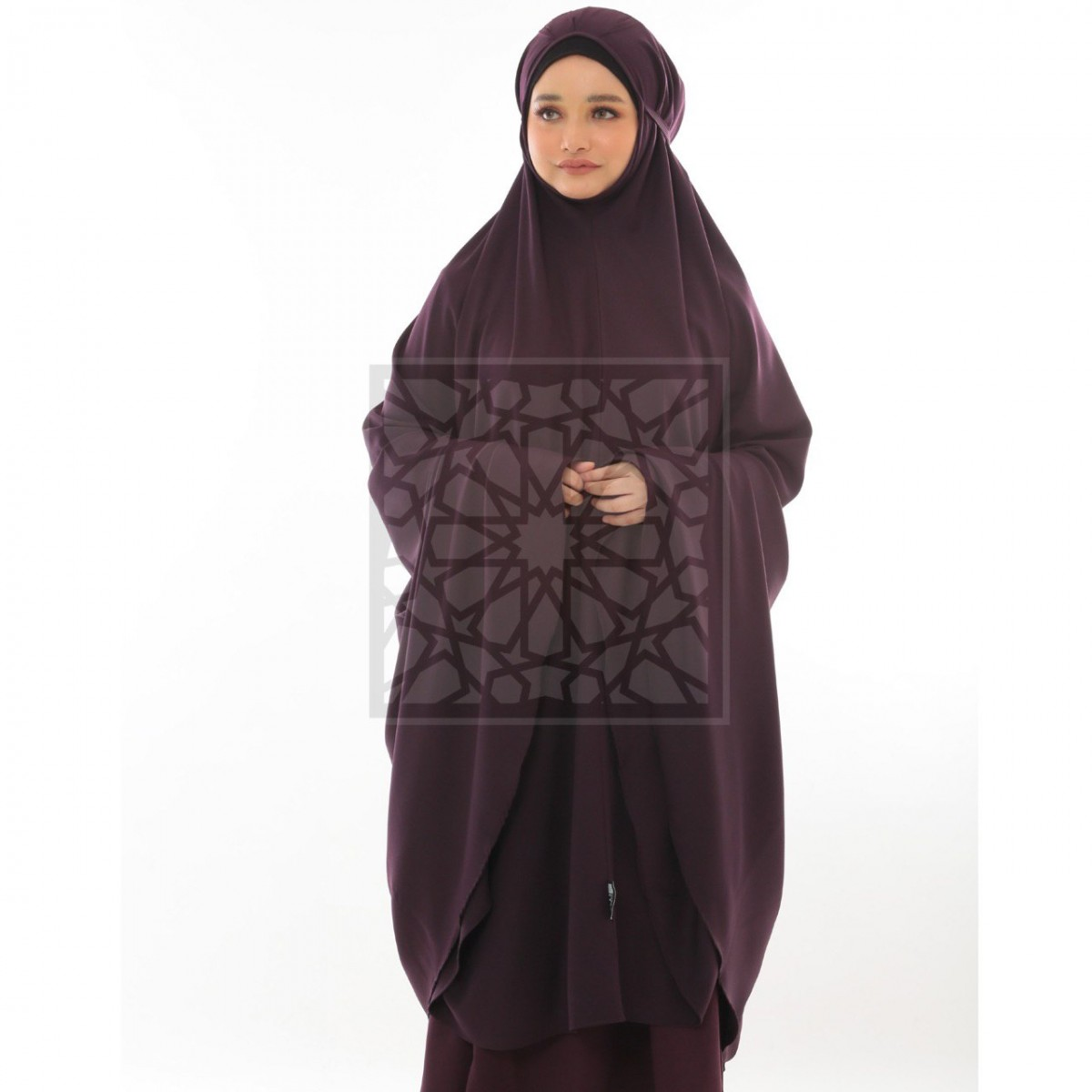Krika Hasna Eggplant Pleated Pattern