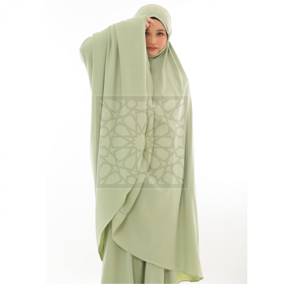 Krika Hasna Mint Green Pleated Pattern